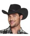 Luxe zwarte cowboyhoed wyoming lederlook voor volwassenen