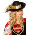 Luxe zwarte hoed met gouden band