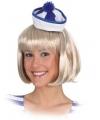 Mini matrozen hoedje blauw wit