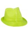 Neon gele trilby hoed met pailletten