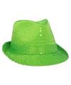 Neon groene trilby hoed met pailletten