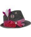 Oktoberfest grijze tiroler hoed met roze veer