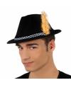 Oktoberfest zwarte tiroler hoed met gele veer