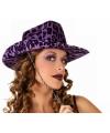 Paarse cowboy hoed met luipaard print