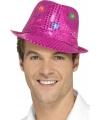 Pailletten hoedje fuchsia roze met led lichtjes