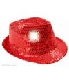 Rood pailletten hoedje met led licht