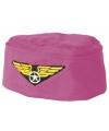 Roze stewardess hoedje met logo