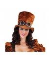 Steampunk hoge hoed bruin