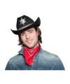 Toppers zwarte cowboyhoed met sheriff ster