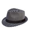 Trilby hoed wit gestreept voor volwassenen
