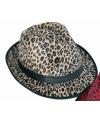 Trilby hoedje met bruine panter print