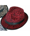 Trilby hoedje met rode panter print