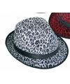 Trilby hoedje met witte panter print