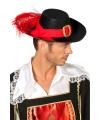 Voordelige musketiers hoed zwart
