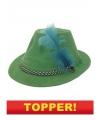 Voordelige tirolerhoed groen met veer