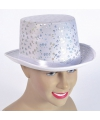 Witte hoge hoed met zilveren pailletten