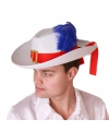 Witte musketier hoed met rode band en paarse veer