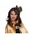 Zwart goud steampunk hoedje voor dames