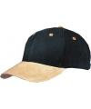 Zwarte 6 panel cap met suede look