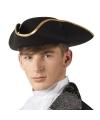 Zwarte driesteek hoed voor volwassenen
