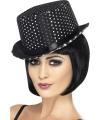 Zwarte hoge hoed met zilveren glitters