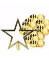 36 gouden kerstballen en goudkleurige kerstster piek