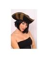 Driesteek hoed zwart met goud voor volwassenen