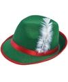 Groene tiroler hoed met witte veer voor volwassenen