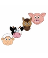 Boerderij dieren maskers van karton