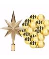 Kerstboomversiering set goud met 36 kerstballen en ster piek