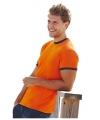 Oranje heren t-shirts met khaki contrast randen