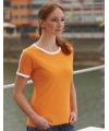 Oranje met wit contrast tshirt voor dames